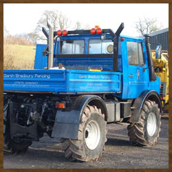 Mercedese Unimog, smaller machine for limited access jobs.