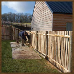 Member of fencing staff and wooden fencing